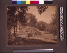 Lower garden, pool and steps.