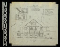 South elevation with section through wall; section through main hall; front and side elevations of fireplace in dining room : No. 5.
