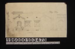 Front elevation, section through front wall, elevation of side of front entrance