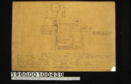 F. S. details of fastener for ice box in buffet -- half plan\, side elev\, front elev. :Sheet no. 7.