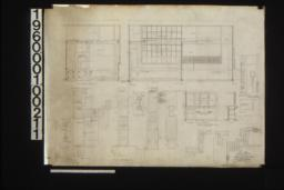 """West elevation of office no. 2\, north elevation of office no. 2 and office no. 1\, Full scale detail of inlay in top rail\, F.S. details in sections\, F.S. detail of inlay\, F.S. detail of inlay in panels; 3/4"""" scale detail of cashier's cases and counter -- part interior elevation\, part exterior elevation\, section\, F.S. detail of bracket; screen -- section\, plan of small bar\, part elev. of intermediete rail :Sheet no. 10."""
