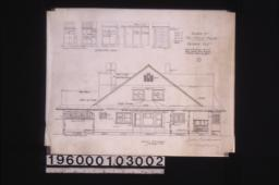 South elevation;details of cases--case on screened porch (see plan for depth)\, west case in stock rm\, case in rm\, east case in bathroom;7.