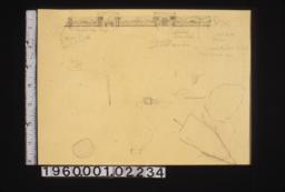 Sketches of elevation and details of garden plantings