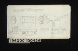 Lathhouse -- west elevation, plan, east elevation, F. S. door detail, inch scale door detail in section and elevation, south elevation, inch scale section through wall and roof and tables, detail drawing of lath spacing : Sheet no. 8,