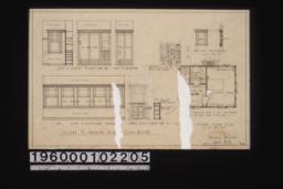 Second floor plan; second fl. interior details -- case in closet off dressing rm\, closet off bedroom\, medicine case in dressing rm\, side of sleeping porch\, towel case in bathr'm : Sheet no. 3.