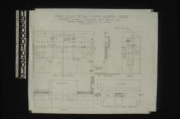 """Inch scale detail of living room mantel -- front elevation, section, end, plan, F.S. detail of cast brass cramp """"a"""" :Sheet no. 16 and 16A."""