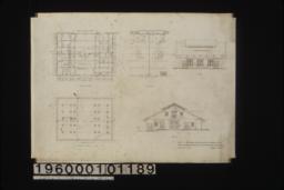 First floor plan\, loft plan\, side elevation\, footing plan\, front elevation :Sheet no. 1.