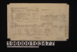South elevation (north elevation similar) ; section through front wall, detail drawings of center wall, half front (east) elevation (other half similar), half rear elevation (other half similar) ; elevation of living room mantel, bookcase & desk ; section thro' book shelves, section thro' center line, half plan ; section through window frames :Sheet no. 3.