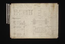 Inch scale and full sized details -- inch scale detail of bench in end and front elevations\, section; F.S. detail of wrought iron hinges in plan and elevation; inch scale detail of batten doors and flower boxes in plan\, front elevation\, and section; inch scale detail of seat in fornt and end elevations\, plan :Sheet no. 2\,