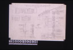 """1/4 inch scale interior details -- side elev. of chimney\, west elev. of living and dining rms\, section and elevation of west side of den\, north elev. of living rm.; 1 1/2"""" section of gable vents\, 1 1/2' detail of double hung window frames\, section thro' verge\, elevation of vent\, 1 1/2"""" scale typical wall section with interior and exterior elevations of window :Sheet no. 7."""