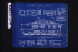 Front (east) elevation; interior details -- section thro' fireplace\, west side of living room\, west side of dining room\, stairs\, north side of dining room\, west side of den\, north side of den\, looking west in hall (2nd floor)\, looking south in hall (2nd floor) :Sheet no. 5. (3)