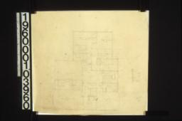 Sketch of second floor plan; section through newel on back stairs; unidentified detail