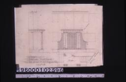 Sketch of kitchen entrance -- side and front elevations\, plan\,