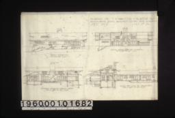 Front elevation\, section showing south side of living rm\, sectional elevation looking north\, section thro' living rm. looking west :Sheet no. 4\,