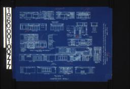 Quarter-inch details -- elevations of dining room\, details in elevations of living room and south side of bedrm. #1\, elevations of hall\, elevations of bedrm. #2\, elevations of library; details in living room :Sheet No. 7\,
