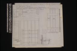1 1/2 inch scale details of seat and bookcases in living room\, and batten doors -- plan\, section and elevation of seat and bookcases; details of batten doors in front and side elevations :Sheet 6.