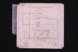 Foundation plan; details -- section thru living r'm chimney\, girder post footing\, section thru wall :Sheet no. 1.