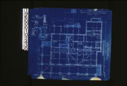 """Foundation plan; foundation details -- post footing\, wall section (see elevations for height of walls)\, porch piers\, section """"C-C"""" :Sheet no. 1. (4)"""