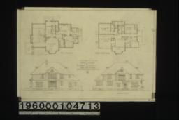 Proposed residence -- first floor plan; second floor plan; south elevation; north (or front) elevation : 2. (2)