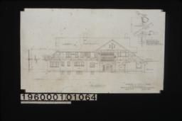 "West elevation with section through wall; 3/4"" scale detail of porte cochere support (position determined by pitch of roof and relation to frame line of house as shown) : Sheet no. 5."