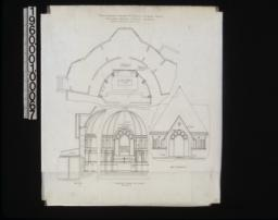 Plans showing change of the Cravens memorial window -- plan, section, elevation looking east (interior), west elevation.