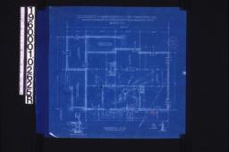 Foundation plan; details -- section thru living r'm chimney\, girder post footing\, section thru wall;Sheet no. 1.