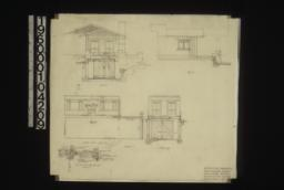 Additions to west bungalow -- south and west exterior elevations; living room (east side interior elevations); south end interior elevation; section thru beams and slab : Sheet no. 2.