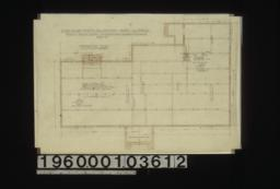 "Foundation plan; section thru chimney\, elev. of girder post footing\, special footing for 6"" x 6"" posts in elevation : Sheet no. 1. (2)"