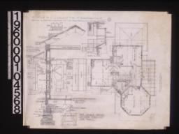 Second floor plan; section thro' outside wall with elevations of outside and inside sash; detail of shaked ridge roll\, section thro' gable :3.