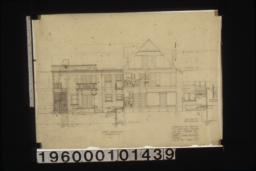 West elevation; section F-F (first floor plan)\, section thru meter box :Sheet no. 7.