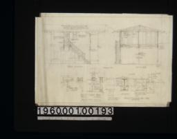North elevation\, transverse section A-A\, details of construction about I beam\, detail drawings of flower boxes and door jamb (inside) :Sheet 2. (2)