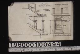 Amended drawing showing section through stairs\, elevation of stairs and hall :No. 1c.