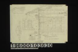 Detail of shingle ridge -- end\, side; detail of roof truss; elev. of foundation vent; section and elevations of wall and windows with part elev. of door openings in partitions :Sheet no. 7. (2)