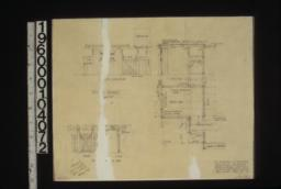 Wood shed details -- south elevation\, section\, plan; details of fence gate -- front\, side : Sheet no. 19.