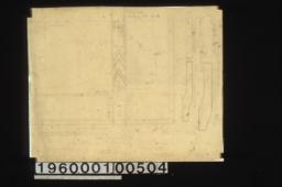 F.S.D. of leaded galss in dining r'm lantern -- quarter plan\, drawing of shapes for glass for sides of lantern : Sheet no. 27\,