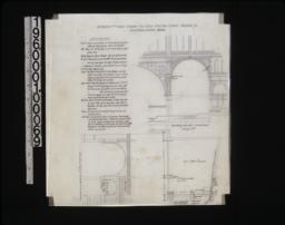 Alteration of the organ chambers -- view of elevation showing new arch (new work shaded), view of elevation showing change of arch and panels over ambulatory, plan of organ chamber.