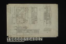 Second floor plan; section thro' C-D; section thro' A-B; north elevation :No. 3. (2)