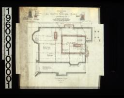 "Foundation plan ; 1/2"" scale details of footings for walls, post footings, chimney footings : No. 1."
