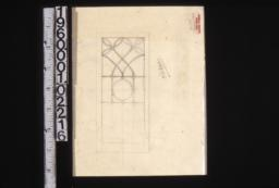 Sketch of glass arrangement for old doors.