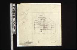 First floor plan showing grounds\, rough sketch of front elevation\, scheme #10.