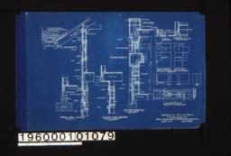 Typical wall section, section thro' overhang (front elevation), section thro' wall of sun room with plan of corner, plan X-Y (west elevation), plan A-B (corner of sleeping porch, west elevation), details of corner over entrance, 3 inch scale detail of splices in timber work :Sheet no. 9.