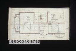 """Foundation plan; section A-B; section C-D; detail ... showing brick footings for 8"""" and 12"""" brick piers; detail of chimney footings."""