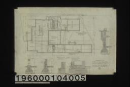 Foundation plan ; section thro' piers, section thro' outside wall, section thro' kitchen chimney, section thro' living r'm chimney, section thro' C-C :No. 1.