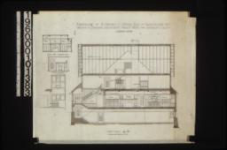 Section A-B through entire house; Interior elevations -- south end of dining rm\, mantel in bedroom #5\, staircase area : Sheet no. 8.