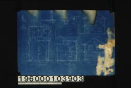 Garage -- first floor plan\, second floor plan\, north elevation\, south elevation\, section C-C\, section D-D\, F.S. section thru sill outside doors\, section thru sill\, section A-A\, section B-B\, section thru sill\, section A-A\, section B-B\, section thru front :Sheet no. [1]