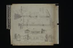 1 1/2 inch scale details -- sections through walls showing framing for doors and windows, plan of door jamb; front elevation, section A-B showing living rm. and pergola, front and side elevations of dining room fire place, front and side elevations of living rm. chimney : No. 2.