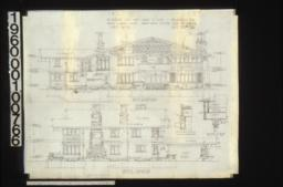 """West elevation\, inch scale detail section thro' """"E-E""""\, section at """"A-A""""; south elevation\, detail drawing of splice of 12"""" x 12"""" over post :Sheet No. 5\,"""