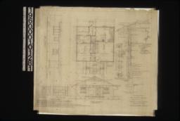 Side elevation\, floor plan\, front elevation; elev. of china closet\, elev. in kitchen; sleeping porch details in sections and plan of walls; typical wall section; detail of gable vents; detail of front door jamb : Sheet no. 1 /