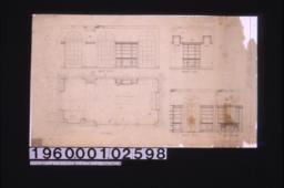 1/2 inch scale details of remodeling of sun roominto a library -- plan\, interior elevations of west side\, north side\, south side\, east side (part)\,