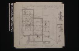 Foundation plan; section thro' wall footings\, chimney detail\, girder post footings\, section of wall at N-O\, section of wall at C-D :Sheet no. 1\, (2)